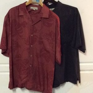 2 Tommy Bahamas 100% Silk Button Up Shirts
